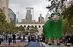 A sculpture of a green sheep at Bryant Park in New York City for the Campaign for Wool, launched by HRH The Prince of Wales to promote the sustainable benefits of wool. The fountain in Bryant Park is full of wool as part of the Campaign for Wool