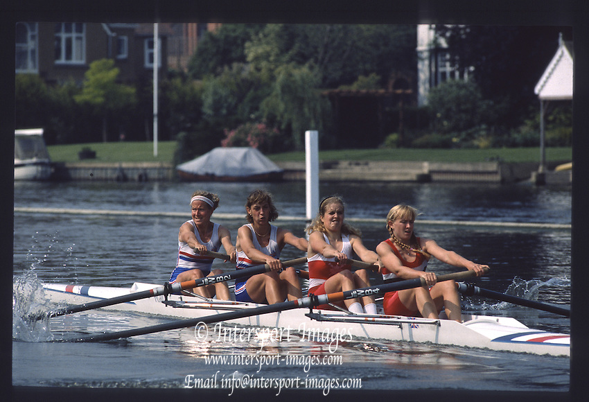 Henley on Thames. Henley,  United Kingdom. <br /> GBR LW4-. Bow Sue KEY, Rachel HIRST/STANHOPE. Joanna TOCH and XXXXX GBR rowing Team Training on Henley Reach, England.<br /> [Mandatory Credit; Peter SPURRIER/Intersport Images] 1990 GBRowing Training on Henley Re 1990 GBRowing Training on Henley Reach. UK