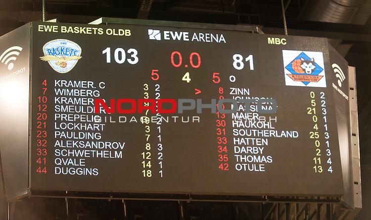 05.02.2016, EWE Arena, Oldenburg, GER, BBL, EWE Baskets Oldenburg vs Mitteldeutscher BC, im Bild<br /> Anzeigentafel mit dem Endstand<br />  ( Mitteldeutscher BC #  )<br /> (EWE Baskets Oldenburg # )<br /> Foto &copy; nordphoto / Rojahn