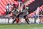 Lenell John-Lewis of Grimsby Town (right) celebrates scoring the opening goal against Bristol Rovers during the 2015 Vanarama Conference Promotion Final match between Grimsby Town and Bristol Rovers at Wembley Stadium, London<br /> Picture by David Horn/eXtreme aperture photography +44 7545 970036<br /> 17/05/2015