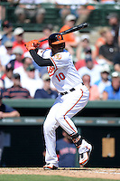 Baltimore Orioles outfielder Adam Jones (10) during a spring training game against the Boston Red Sox on March 8, 2014 at Ed Smith Stadium in Sarasota, Florida.  Baltimore defeated Boston 7-3.  (Mike Janes/Four Seam Images)
