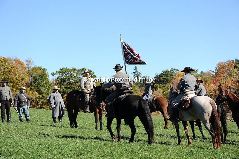 Civil War Reenactment Confederate Camp Cavalry Drill