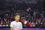Ginting Sinisuka (INA), Fans (INA), <br /> AUGUST 22, 2018 - Badminton : Men's Team Final match between China - Indonesia at Gelora Bung Karno Istora during the 2018 Jakarta Palembang Asian Games in Jakarta, Indonesia. <br /> (Photo by MATSUO.K/AFLO SPORT)