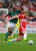 30th September 2017, Riverside Stadium, Middlesbrough, England; EFL Championship football, Middlesbrough versus Brentford; Adam Clayton of Middlesbrough breaks away from a challenge from Kamohelo Mokotjo of Brentford  in the 2-2 draw