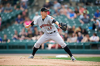 Indianapolis Indians starting pitcher Chad Kuhl (34) during a game against the Rochester Red Wings on May 26, 2016 at Frontier Field in Rochester, New York.  Indianapolis defeated Rochester 5-2.  (Mike Janes/Four Seam Images)