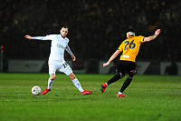 Lewis Wing of Middlesbrough battles with Regan Poole of Newport County during the FA Cup Fourth Round Replay match between Newport County and Middlesbrough at Rodney Parade in Newport, Wales, UK. Tuesday 05 February 2019