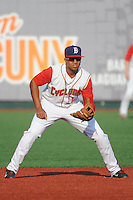 Brooklyn Cyclones infielder Jhoan Urena (13) during game against the Staten Island Yankees at MCU Park on June 29, 2014 in Brooklyn, NY.  Staten Island defeated Brooklyn 5-4.  (Tomasso DeRosa/Four Seam Images)