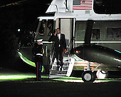 United States President Barack Obama returns to the South Lawn of the White House aboard Marine 1after traveling to Austin, Texas and Dallas Texas on Monday, August 9, 2010..Credit: Ron Sachs / Pool via CNP