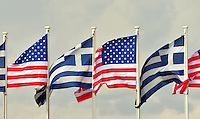 Pictured: Greek and US flags at the Eleftherios Venizelos Airport in Athens, Greece. Tuesday 15 November 2016<br /> Re: US President Barack Obama state visit to Greece