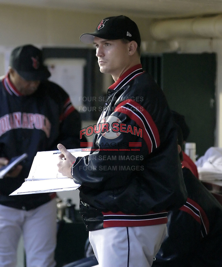May 15, 2004:  Catcher Chris Coste of the Indianapolis Indians, Triple-A International League affiliate of the Milwaukee Brewers, during a game at Frontier Field in Rochester, NY.  Photo by:  Mike Janes/Four Seam Images