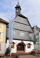 Altes Rathaus von 1479 in Amorbach im Odenwald, Bayern, Deutschland