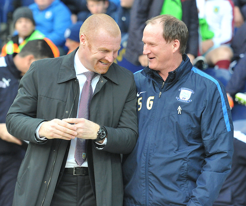 Burnley's Manager Sean Dyche and Preston North End's Manager Simon Grayson share a joke before kick off <br /> <br /> Photographer Dave Howarth/CameraSport<br /> <br /> Football - The Football League Sky Bet Championship - Preston North End v Burnley - Friday 22nd April 2016 - Deepdale - Preston<br /> <br /> &copy; CameraSport - 43 Linden Ave. Countesthorpe. Leicester. England. LE8 5PG - Tel: +44 (0) 116 277 4147 - admin@camerasport.com - www.camerasport.com