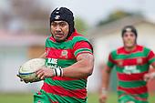 Sosefo Kata heads to the tryline. Counties Manukau Premier Club Rugby game between Waiuku and Bombay, played at Waiuku on Saturday July 5th 2010. Waiuku won 59 - 14 after trailing 12 - 14 at halftme.