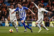 3rd February 2019, Santiago Bernabeu, Madrid, Spain; La Liga football, Real Madrid versus Alaves; Tomas Pina (Deportivo Alaves) breaks awayb from the challenge of Modric (Real)