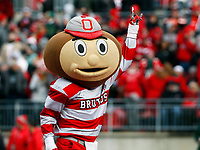 Brutus Buckeye celebrates during Saturday's NCAA Division I football game against the Michigan State Spartans at Ohio Stadium in Columbus on November 11, 2017. Ohio State won the game 48-3. [Barbara J. Perenic/Dispatch]