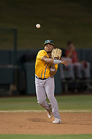 AZL Athletics third baseman Jordan Diaz (10) makes a throw to first base during an Arizona League game against the AZL Angels at Tempe Diablo Stadium on June 26, 2018 in Tempe, Arizona. The AZL Athletics defeated the AZL Angels 7-1. (Zachary Lucy/Four Seam Images)