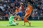 Atletico de Madrid's Antoine Griezmann and SD Eibar's Yoel Rodriguez and Florian Lejeune during Liga Liga match between Atletico de Madrid and SD Eibar at Vicente Calderon Stadium in Madrid, May 06, 2017. Spain.<br /> (ALTERPHOTOS/BorjaB.Hojas)