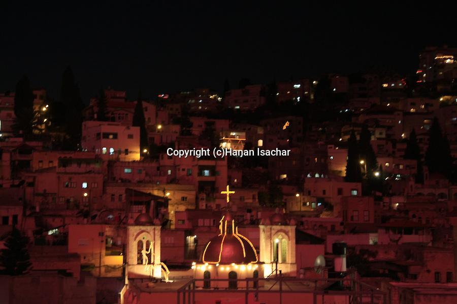 Israel, Lower Galilee, Nazareth at night