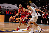 9th February 2018, Wiznik Centre, Madrid, Spain; Euroleague Basketball, Real Madrid versus Olympiacos Piraeus; Vassilis Spanoulis (OLYMPIACOS BC) breaks away from the defence of Facundo Campazzo (Real Madrid Baloncesto)