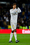 Raphael Varane of Real Madrid celebrate the victory after La Liga match between Real Madrid and Real Sociedad at Santiago Bernabeu Stadium in Madrid, Spain. November 23, 2019. (ALTERPHOTOS/A. Perez Meca)
