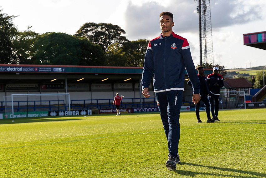 Bolton Wanderers' D'Neal Richards pictured before the match<br /> <br /> Photographer Andrew Kearns/CameraSport<br /> <br /> The Carabao Cup First Round - Rochdale v Bolton Wanderers - Tuesday 13th August 2019 - Spotland Stadium - Rochdale<br />  <br /> World Copyright © 2019 CameraSport. All rights reserved. 43 Linden Ave. Countesthorpe. Leicester. England. LE8 5PG - Tel: +44 (0) 116 277 4147 - admin@camerasport.com - www.camerasport.com