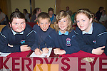 QUESTIONS: Pupils from Ardfert NS who answered as many questions as they could in the Cumann na mBunscol Ciarrai? Tra?th na gCeist, 2010 County Final, in the Meadowland Hotel Tralee on Thursday evening. L-r: Eoghan Costello, Michael Davis, Emma Lawlor and Abigail Mahony................................... ....