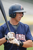 June 21, 2008: Infielder Brian Finegan (2) of the Potomac Nationals, Carolina League affiliate of the Washington Nationals, in a game against the Frederick Keys at G. Richard Pfitzner Stadium in Woodbridge, Va. Photo by:  Tom Priddy/Four Seam Images