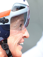 England's Emma Pooley, who eventually went on to finish second in the time trial, at the end of her race<br /> <br /> Photographer Chris Vaughan/CameraSport<br /> <br /> 20th Commonwealth Games - Day 8 - Thursday 31st July 2014 - Cycling - time trial - Glasgow - UK<br /> <br /> © CameraSport - 43 Linden Ave. Countesthorpe. Leicester. England. LE8 5PG - Tel: +44 (0) 116 277 4147 - admin@camerasport.com - www.camerasport.com