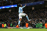 Raheem Sterling of Manchester City celebrates his third goal - Manchester City vs Monchengladbach - UEFA Champions League - Etihad Stadium - Manchester - 08/12/2015 Pic Philip Oldham/SportImage