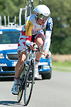 SITTARD, NETHERLANDS - AUGUST 16: Gert Dockx of Belgium riding for Lotto Belisol competes during stage 5 of the Eneco Tour 2013, a 13km individual time trial from Sittard to Geleen, on August 16, 2013 in Sittard, Netherlands. (Photo by Dirk Markgraf/www.265-images.com)