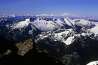 View from the top of Clarke Mountain towards Mount Rainier in the south, Glacier peak wilderness, Cascades, June 2010