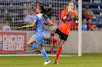 Bridgeview, IL - Saturday June 18, 2016: Christen Press, Libby Stout during a regular season National Women's Soccer League (NWSL) match between the Chicago Red Stars and the Boston Breakers at Toyota Park.