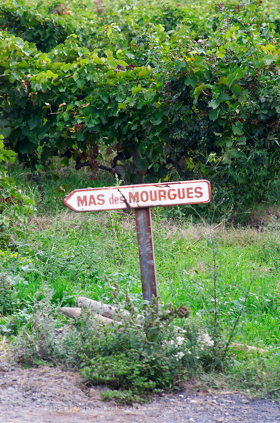 Old sign to the Mas des Morgues de Gres Chateau Mourgues du Gres Grès, Costieres de Nimes, Bouches du Rhone, Provence, France, Europe
