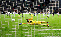 Torwart Kevin Trapp (Eintracht Frankfurt) haelt den Elfmeter, saves the penalty von Marcelo Brozovic (Inter Mailand, Internazionale Milano) - 07.03.2019: Eintracht Frankfurt vs. Inter Mailand, UEFA Europa League, Achtelfinale, Commerzbank Arena, DISCLAIMER: DFL regulations prohibit any use of photographs as image sequences and/or quasi-video.