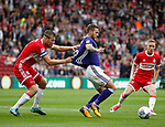 Billy Sharp of Sheffield Utd tussles with Ben Gibson of Middlesbrough during the Championship match at the Riverside Stadium, Middlesbrough. Picture date: August 12th 2017. Picture credit should read: Simon Bellis/Sportimage