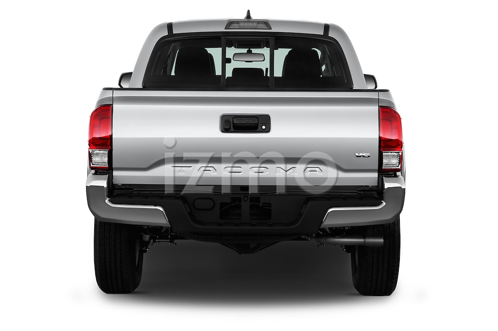 Straight rear view of 2016 Toyota Tacoma SR5 4 Door Pickup Rear View  stock images