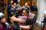 The winner of the 1992 Nobel Peace Prize,Rigoberta Menchú greets the family of victims before the trial starts for former Guatemalan dictator, Efrain Rios MonttIn the Supreme Court of Justice Guatemala CIty March 19, 2013.