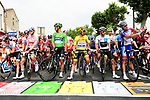 The jersey holders and stage winners line up for the start of Stage 15 of the 2019 Tour de France running 185km from Limoux to Foix Prat d'Albis, France. 20th July 2019.<br /> Picture: ASO/Alex Broadway | Cyclefile<br /> All photos usage must carry mandatory copyright credit (© Cyclefile | ASO/Alex Broadway)