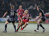22nd March 2018, Select Security Stadium, Widnes, England; Betfred Super League rugby, Widness Vikings versus Salford Red Devils; Junior Sau takes on Chris Houston and Tom Olbison in driving snow