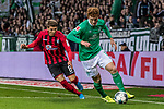02.11.2019, wohninvest WESERSTADION, Bremen, GER, 1.FBL, Werder Bremen vs SC Freiburg<br /> <br /> DFL REGULATIONS PROHIBIT ANY USE OF PHOTOGRAPHS AS IMAGE SEQUENCES AND/OR QUASI-VIDEO.<br /> <br /> im Bild / picture shows<br /> Mike Frantz (SC Freiburg #8), <br /> Joshua Sargent (Werder Bremen #19), <br /> <br /> Foto © nordphoto / Ewert
