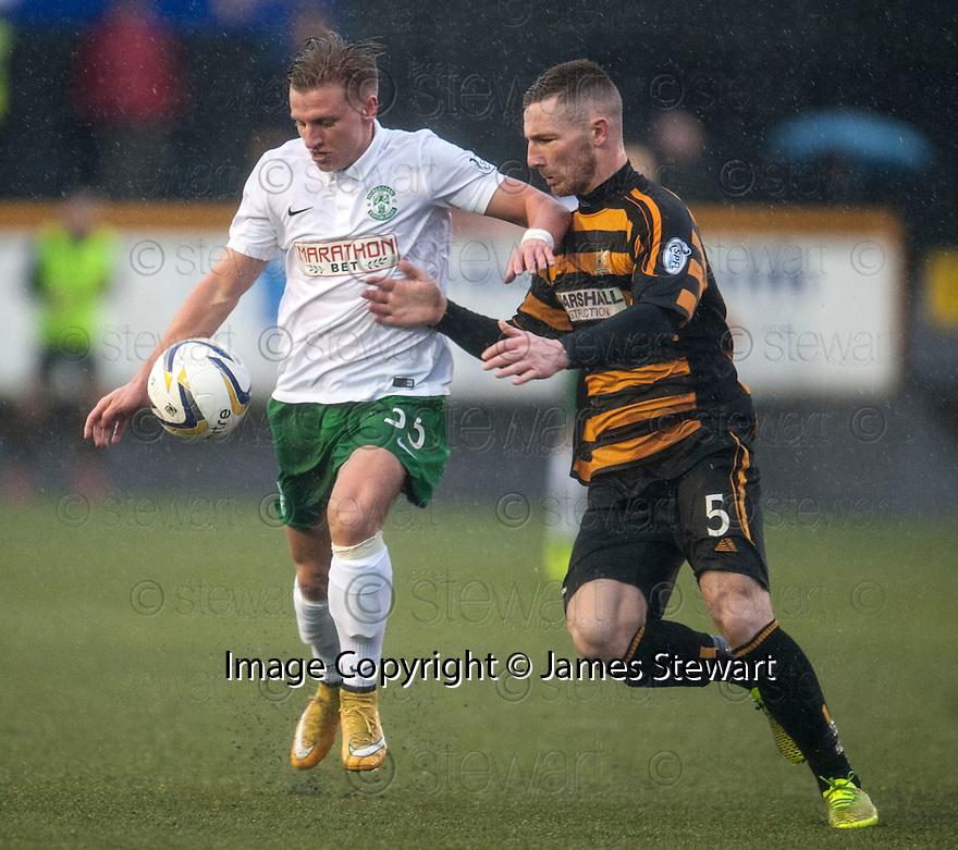 Hib's Jason Cummings holds of Alloa's Daryll Meggatt.