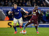 Leicester City's Caglar Soyuncu competing with Aston Villa's Mbwana Samatta (right) <br /> <br /> Photographer Andrew Kearns/CameraSport<br /> <br /> The Premier League - Leicester City v Aston Villa - Monday 9th March 2020 - King Power Stadium - Leicester<br /> <br /> World Copyright © 2020 CameraSport. All rights reserved. 43 Linden Ave. Countesthorpe. Leicester. England. LE8 5PG - Tel: +44 (0) 116 277 4147 - admin@camerasport.com - www.camerasport.com