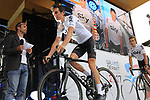Geraint Thomas (WAL) Team Sky on stage at the Team Presentation in Burgplatz Dusseldorf before the 104th edition of the Tour de France 2017, Dusseldorf, Germany. 29th June 2017.<br /> Picture: Eoin Clarke | Cyclefile<br /> <br /> <br /> All photos usage must carry mandatory copyright credit (&copy; Cyclefile | Eoin Clarke)
