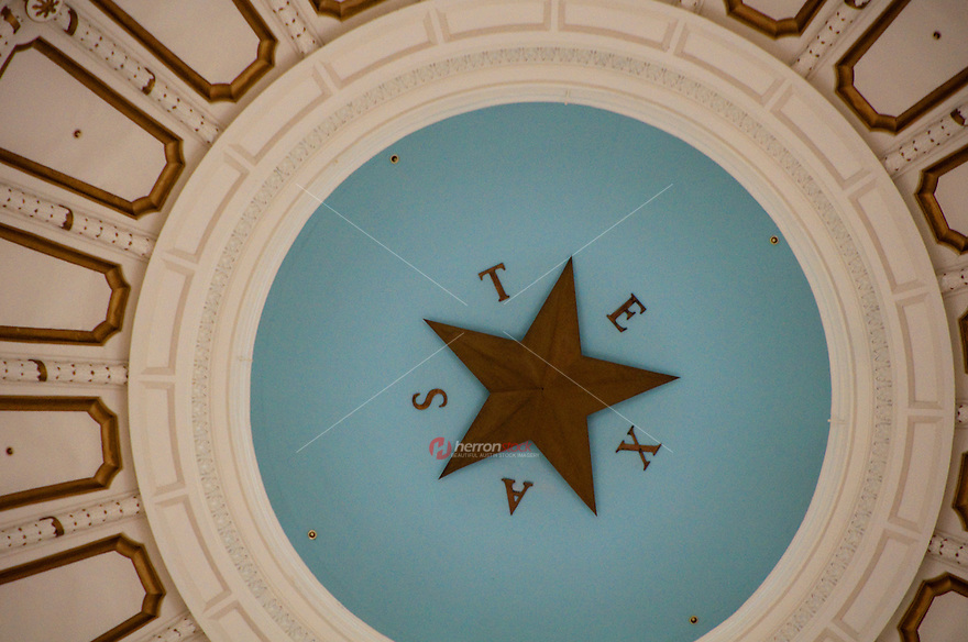 Texas Capitol Dome Lone Star in Austin, Texas, USA
