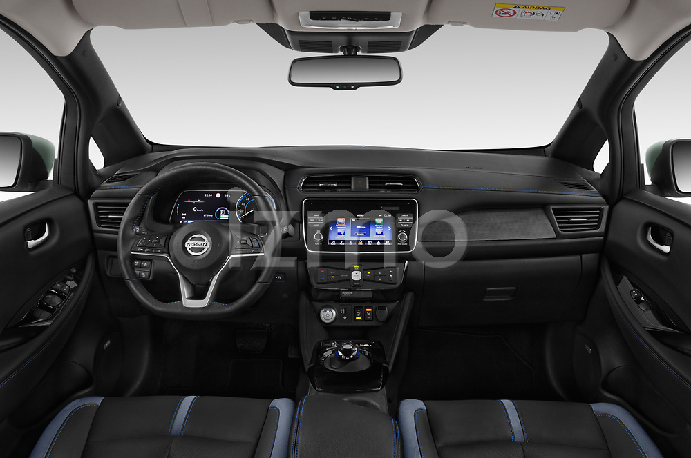 Stock photo of straight dashboard view of a 2018 Nissan Leaf Tekna 5 Door Hatchback