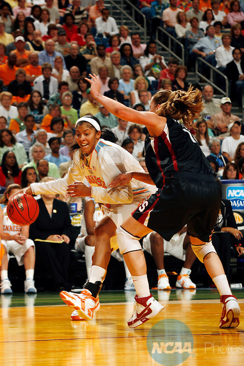 08 APR 2008:  Candace Parker (3) of the University of Tennessee drives to the hoop against Kayla Pedersen (14) of Stanford University during the Division I Women's Basketball Championship held at the St. Pete Times Forum in Tampa, FL.  Tennessee defeated Stanford 64-48 for the national title.  Jamie Schwaberow/NCAA Photos