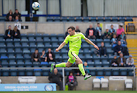 Carl Magnay of Hartlepool United clears the ball during the Sky Bet League 2 match between Wycombe Wanderers and Hartlepool United at Adams Park, High Wycombe, England on 5 September 2015. Photo by Andy Rowland.