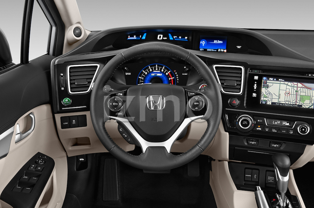 Car pictures of steering wheel view of a 2014 Honda Civic Hybrid Hybrid CVT 4 Door Sedan Steering Wheel