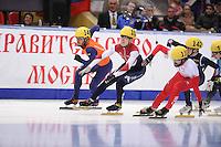 "SHORT TRACK: MOSCOW: Speed Skating Centre ""Krylatskoe"", 14-03-2015, ISU World Short Track Speed Skating Championships 2015, finish Final A 1500m Men, Sjinkie KNEGT (#148   NED), Semen ELISTRATOV (#12   RUS), Charles Hamelin (#110   CAN), Se Yeong PARK (#142   KOR), ©photo Martin de Jong"