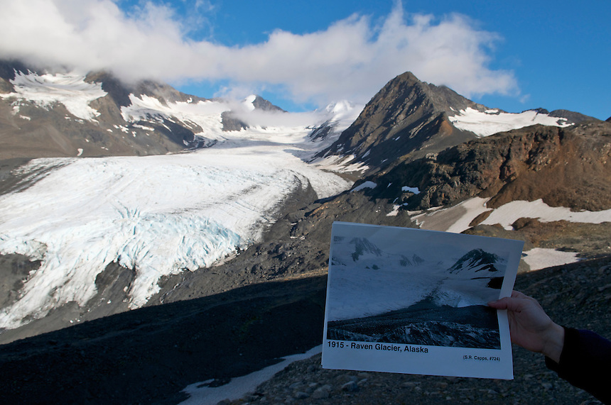 September 11, 2010 repeat photography by Ron Karpilo of a 1915 image taken by USGS geologist Stephen Capps of Raven Glacier at Crow Pass in Chugach National Forest and Chugach State Park, Alaska, United States.